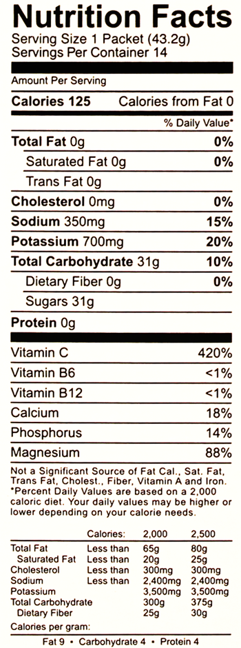 Vanquish Raspberry Nutrition Facts